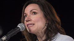 Martine Ouellet, lors du lancement de sa campagne � la direction du Parti qu�b�cois, vendredi, � Montr�al.