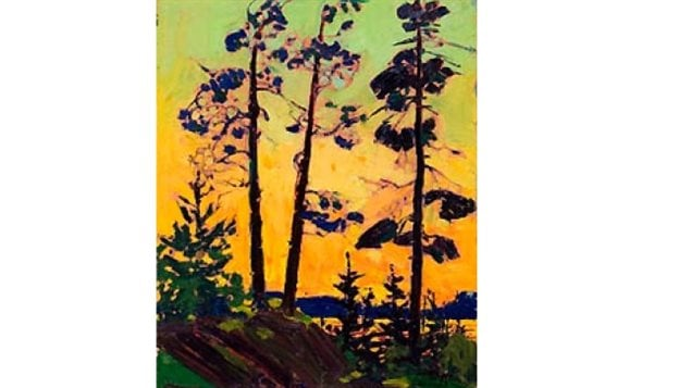 Thomson- Pine Trees at Sunset-stylistic representation and vivid colours