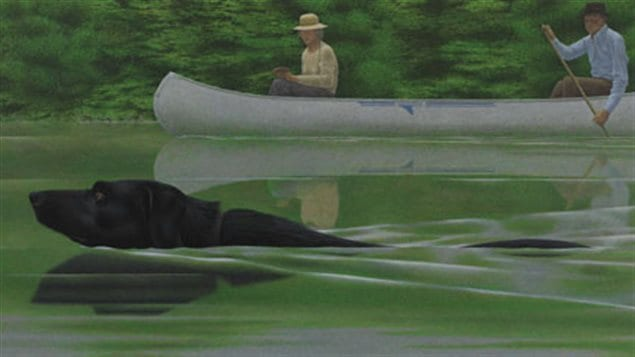 1979 Acrylic-polymer- 53x119cm  Alex Colville- Swimming Dog and Canoe