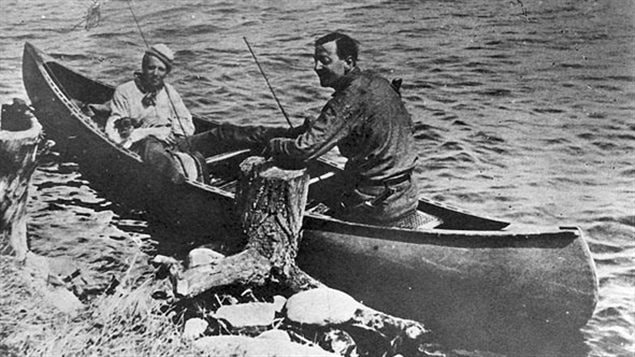 Tom Thomson (R) with Arthur Lismer, fishing in Algonquin Park. Lismer would later become a member of the famous Group of 7 painters. That group said Thomson's work was an inspiration for their painting direction.