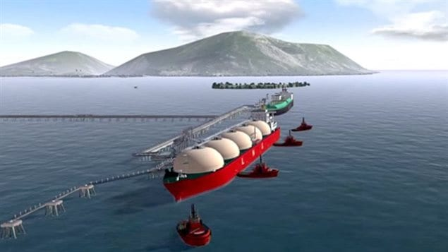 A promotional video shows a tanker filling up at the proposed Pacific NorthWest LNG facility on Canada's west coast.