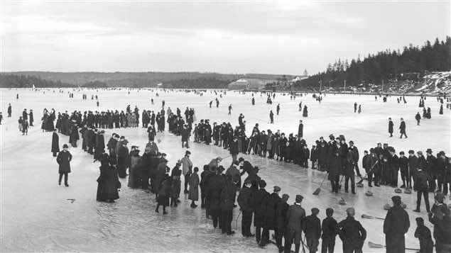 Curling on a lake at Dartmouth Nova Scotia, January 1897.