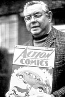 Canadian-born Joe Shuster shown in 1975. Co-creator of Superman, the most famous of superheroes and credited with inspiring the superhero genre. He died in Los Angeles in 1992, at age 78.