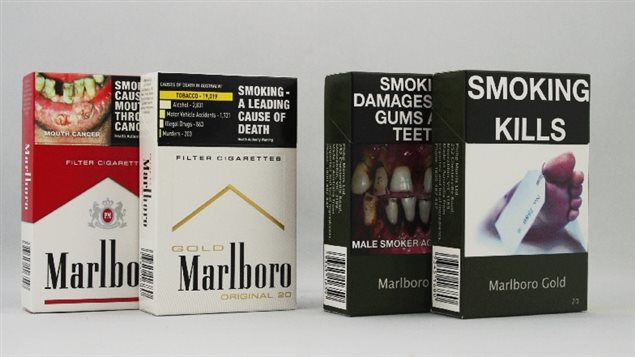 Examples of Australian packaging before and after plain packaging rules came into effect in 2012. The new style removes attractive colours, logos, designs, and allows only the company and brand style in generica lettering against an olive drab background