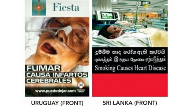 Many other countries around the world have adopted various levels of warnings and photos to discourage smoking. such as Uruguay and Sri Lanka shown.