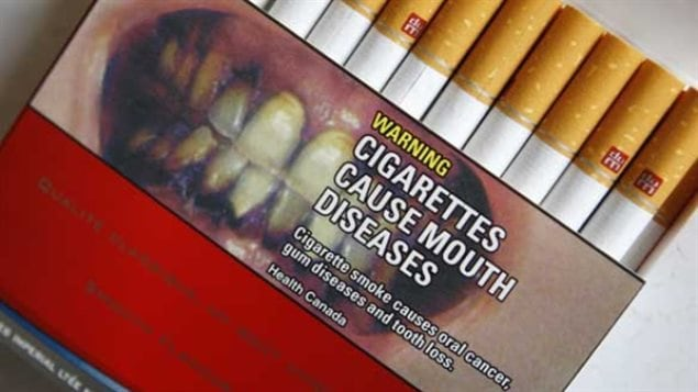 A typical cigarette package in Canada, showing one of the several graphic images to discourage smokers.