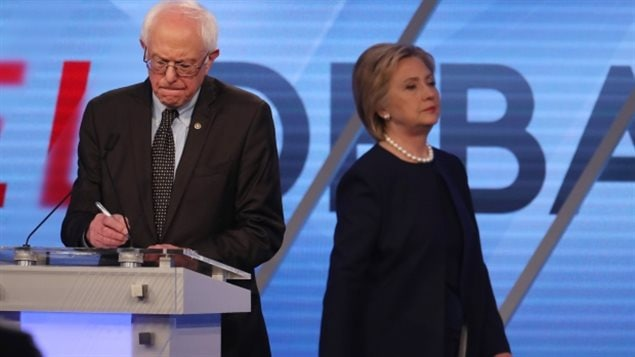 Presidential hopefuls for the Democrats, Bernie Sanders and Hillary Clinton, rather different views but forced to be within the same party.