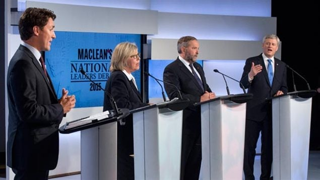 The 2015 Canadian leaders debate, Justin Trudeau (Liberal) Elizabeth May (Green), Tom Mulcair (NDP) Steven Harper (Con)-missing Gilles Duceppe (Bloc Quebecois) Several parties to reflect various voter priorities and keep the others in check.