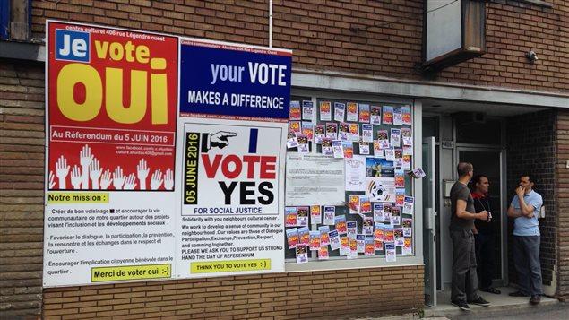 Affiches lors du référendum concernant un lieu de culte pour musulmans
