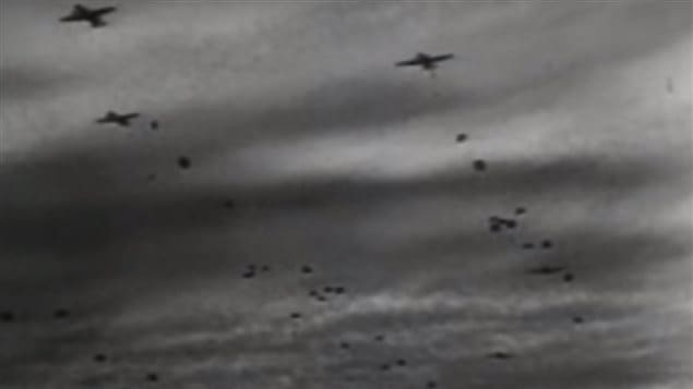 Mass parachute drops behind enemy lines in occupied France began prior to the beach attack. the paratroop task was to disrupt the enemy travel and communications to prevent German reinforcements arriving. Canadians were dropped an hour earlier to secure the drop zone for the ;arachute brigade.