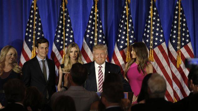 Donald Trump donne un discours à New York.