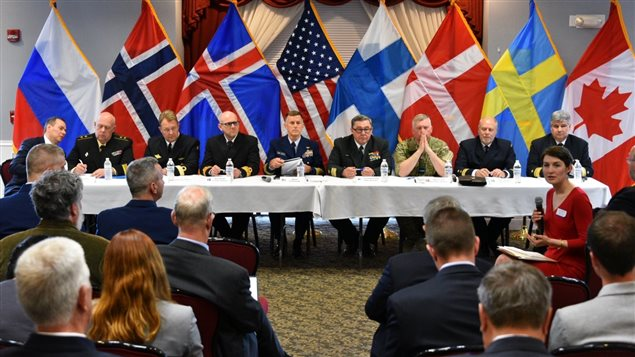 The heads of the eight Arctic nations' coast guards take part in the Arctic Coast Guard Forum Academic Roundtable at Coast Guard base Boston, June 9, 2016. (Petty Officer 2nd Class Patrick Kelley/U.S. Coast Guard)