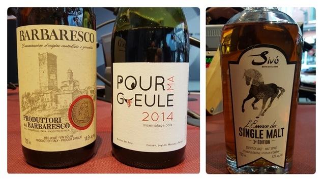 Bouteilles de vin rouge et spiritueux
