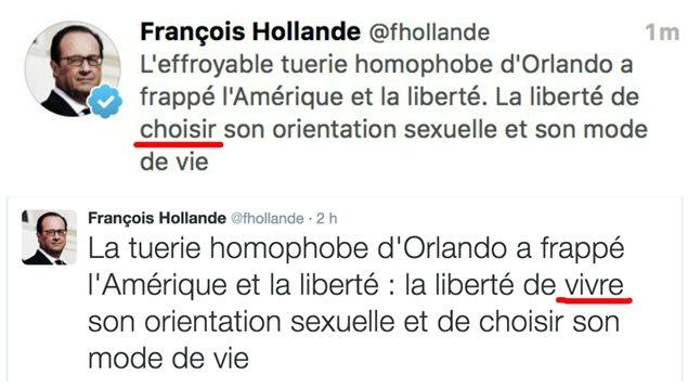 Petite bourde du Président français sur Twitter, en réaction à la tuerie d'Orlando
