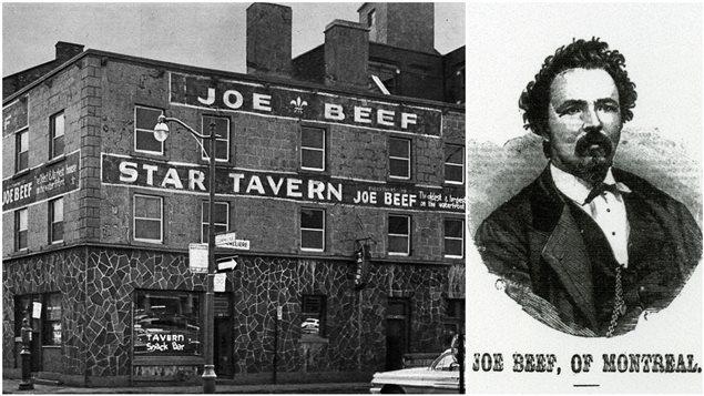 La taverne Joe Beef en 1962, au coin de la rue de la Commune et de la rue de Callière; dessin de Charles McKiernan, alias Joe Beef.