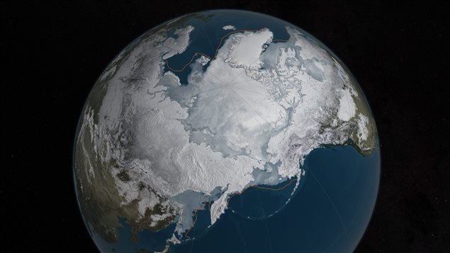 This NASA photo shows Arctic sea ice at its lowest maximum on record in 2016. It had shrunk from the old record set in 2015 by almost 13,000 square kilometers.