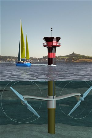 An artist's rendition shows how giant turbines could harness some of the world's most powerful tides.