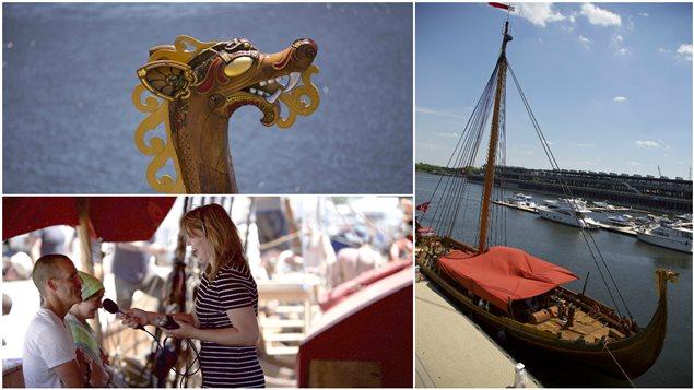 Le drakkar norvégien Harald Hårfagre est de passage dans le Vieux-Port de Montréal
