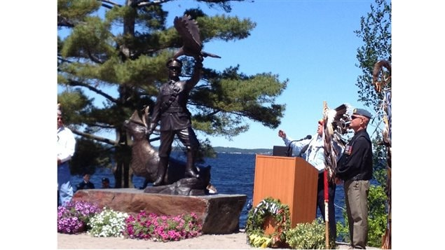 Assembly of First Nations (AFN) National Chief Perry Bellegarde speaking at the unveiling of the Pegahmagabow statue today saying *On the 20th anniversary of National Aboriginal Day, we are poised on a new era of reconciliation, a time to renew our original relationship of partnership, respect and sharing.*