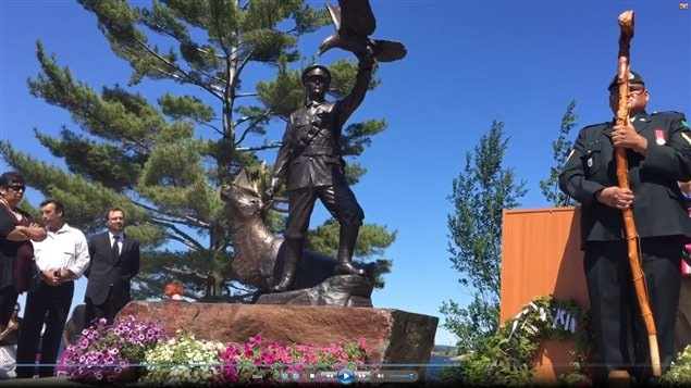 The statue and unveiling ceremony today near Parry Sound Ontario.