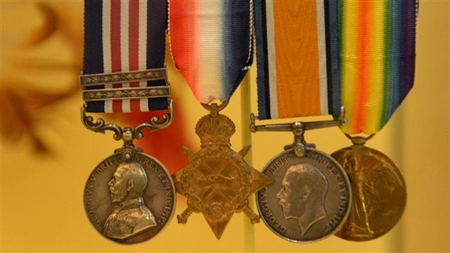 Sgt Francis Pegahmagabow is one of only 38 Canadians to be decorated with the Military Medal with two bars, awarded for acts of bravery and devotion under fire. From left to right, his medals include the Military Medal with two bars, the 1914-1915 Star, the British War Medal and the Victory Medal (1914-1918).
