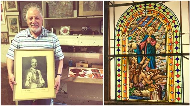 Roger Nincheri montre la photo de son grand-père, Guido Nincheri, célèbre fabricant de vitraux montréalais d'origine italienne