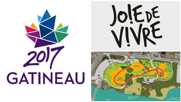 À gauche, le logo de Gatineau 2017, à droite, le slogan « Joie de vivre » et une carte du site qui accueillera les MosaïCanada.