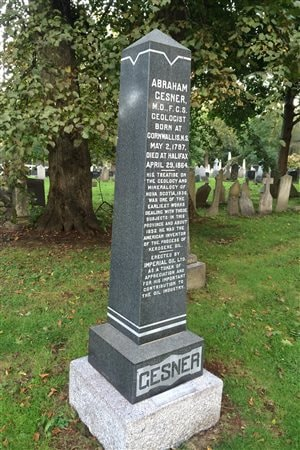 Monument to Abraham Gesner in Camp Hill Cemetery erected by Imperial Oil in 1933 to honour the man considered the father of the petroleum industry. It was cleaned by member of Dalhousie Univeristy in 2015.