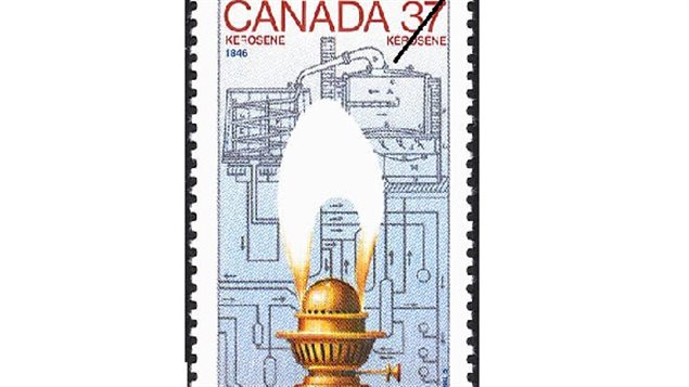 In 1988, Canada Post issued a 37-cent stamp featuring the invention of kerosene with a lamp burner over a blueprint design of Gesner's distillation invention which was easily modified fro crude and gave birth to the petroleum industry.