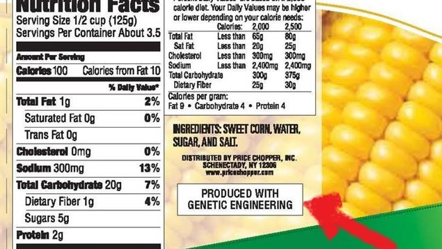 Labelling for US State of Vermont showing the product has GMO ingredients.