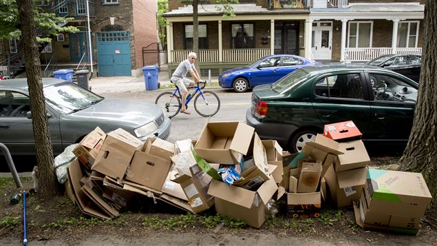 Des boîtes dans le quartier Saint-Sauveur à Québec