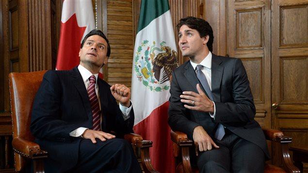 Le président mexicain Enrique Pena Nieto et le premier ministre canadien Justin Trudeau