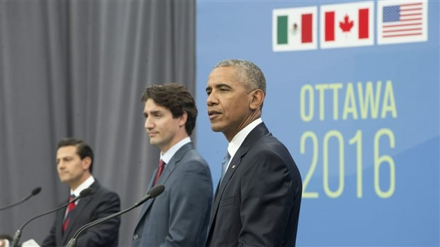 President Barack Obama, Canadian Prime Minister Justin Trudeau and Mexican President Enrique Pena Neito participate in a trilateral news conference for the North America Leaders' Summit at the National Gallery of Canada, Wednesday, June 29, 2016 in Ottawa, Canada.