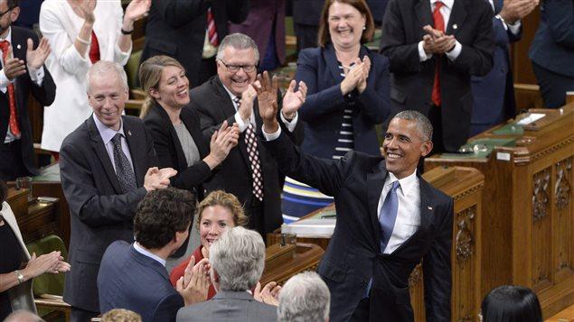 Barack Obama lors de son dernier passage � titre de pr�sident am�ricain � la Chambre des communes, � Ottawa