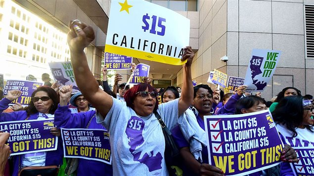 Pressure to raise the minimum hourly wage spread through California and many other parts of North America.