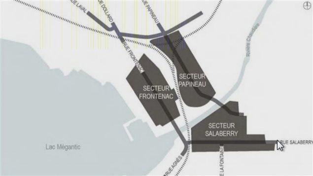 La carte du centre-ville de Lac-Mégantic