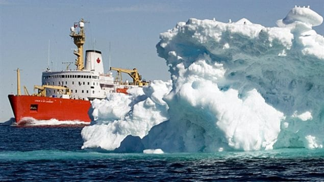The Canadian Coast Guard icebreaker Louis St Laurent in the Arctic. With global warming previously permanently inaccessible areas of the central Arctic ocean are now becoming accessible to potential commercial fishing operations.