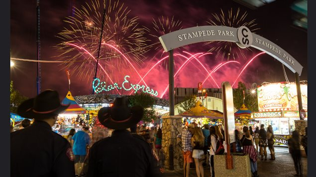Another shot of the nightlife at Stampede Park with spectacular fireworks displays