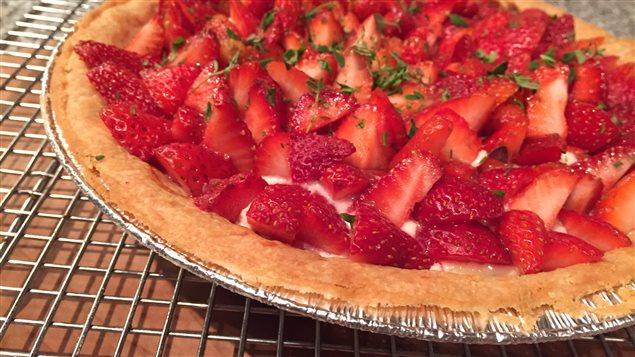 Tarte aux fraises et au thym.