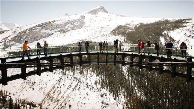 Des touristes visitent la promenade Glacier Skywalk située dans le parc national de Jasper.