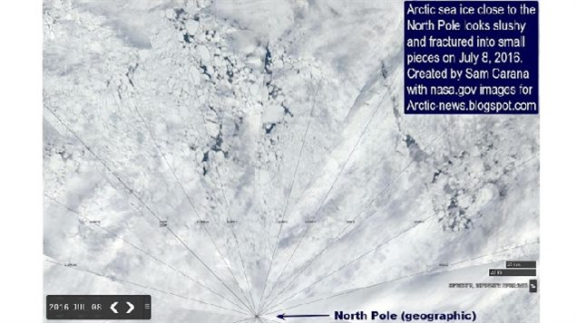 *Arctic sea ice close to the North Pole looks slushy and fractured into small pieces on July 8, 2016