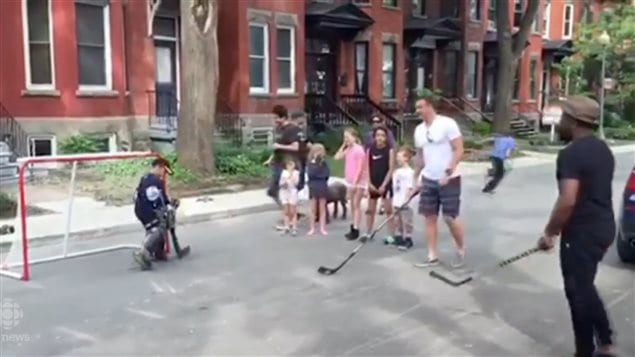 In june, NHL hockey star, P.K.Subban happens upon a street hockey game in Montreal and joins in. In Montreal it is theoretically banned in streets, but is allowed in the city's many alleways.