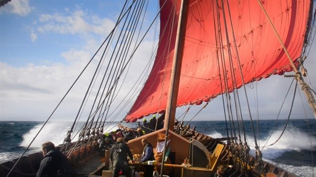 The 32-person volunteer crew of the Draken Harald sleeps outside on the deck under tents, as Viking explorers would have