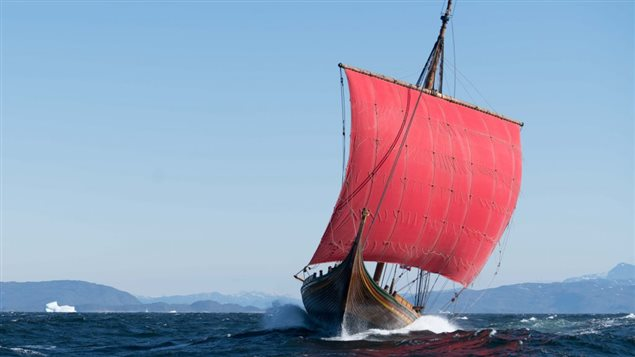 Draken Harald Hårfagre in full sail and a good wind