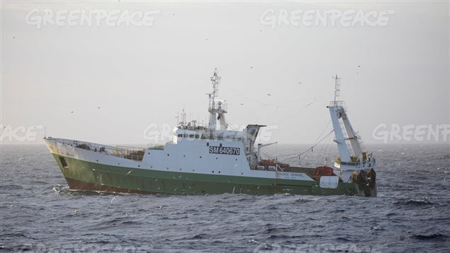 July 7 1016, Another trawler of several fishing in the Barents Sea. Grande Hermine's home port is St Malo.