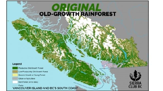 Green shows the extent of the original old forests on Vancouver Island and along the mainland coast below the Great Bear Rainorest agreement.
