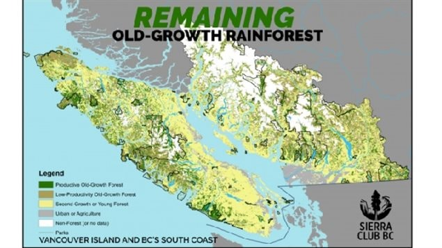 Current state with only a miniscule fraction of old growth left in isolated non-connected patches. The Sierra Club says in spite of that, old growth logging has increased in recent years.