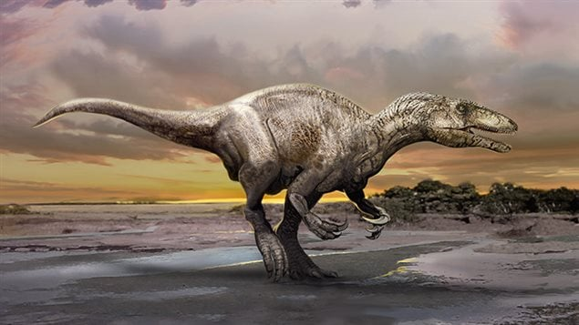 Artist concept of the new raptor species with its huge claws on the forearms