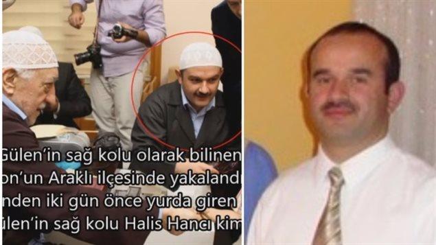 Cette image qui circule dans les médias turcs montre un homme censé être Hanci avec le politicien Gulen (à gauche), et une photo de famille montrant Hanci (à droite). (YouTube)