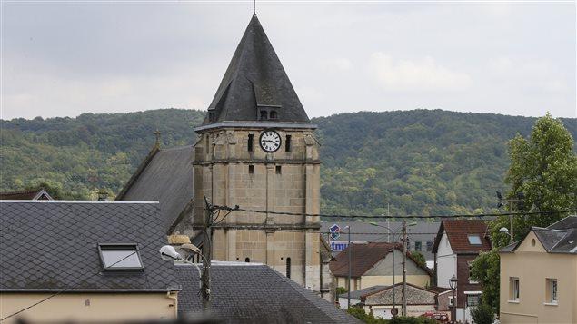 L'église de Saint-Etienne-du-Rouvray où un prêtre a été tué par deux terroristes